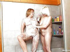 Soaped up saggy matures