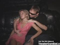 Blonde petite slut theater gangbang!