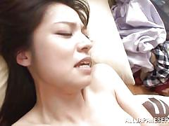 Brunette japanese gets banged in the kitchen