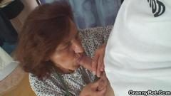 Sewing old women swallows customers cock