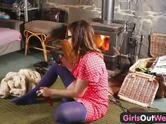 Hairy pussy orgasming by the stove