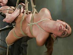 milf, bondage, bdsm, hanging, dildo, vibrator, fingering, brunette, moaning, tied up, ropes, shibari, sadistic rope, kink, serena blair