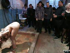 milf, bondage, bdsm, public, gangbang, humiliation, brunette, tied up, mouth fuck, ropes, public disgrace, kink, lorelei lee, bianca stone