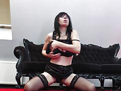 mature, solo, stockings, masturbating, european, natural tits, teasing, undressing, black hair, black lingerie, mature eu, mature nl, ilena k.