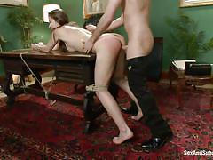 milf, bdsm, round ass, crying, brunette, tied up, from behind, table, ball gag, sex and submission, kink, dani daniels, james deen
