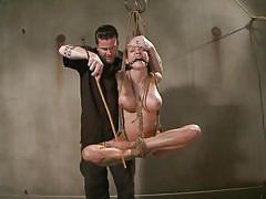 milf, blonde, pain, bdsm, spanking, hanging, whipping, big boobs, punished, tied up, ropes, executor, ball gag, mouth gagged, sadistic rope, kink, rain degrey