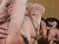 milf, tattoo, bdsm, brunette, tied up, ropes, executor, ball gag, clothespins, unshaved cunt, sadistic rope, kink, krysta kaos, the pope