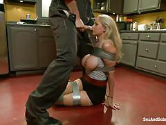 milf, blonde, bdsm, big tits, punish, kitchen, mouth fuck, choking, duct tape, on the floor, sex and submission, kink, julia ann, mark davis