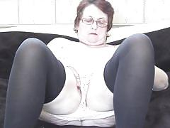 chubby, granny, glasses, solo, masturbation, stockings, brunette, european, pussy rubbing, mature eu, mature nl, vicky t.