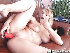 milf, blonde, solo, masturbation, big boobs, dildo, couch, busty adventures, sara xxxx