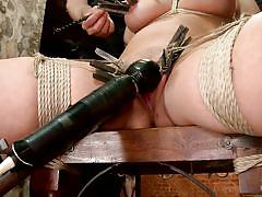 milf, blonde, bdsm, big tits, vibrator, tit torture, tied up, ropes, clothespins, shibari, ball gagged, hogtied, kink, holly heart