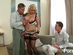 big tits, blonde, threesome, uniforms, pornhub, maid, mom, milf, mother, spit-roast, doggy-style, big-tits, natural-boobs, tattoos, reverse-cowgirl, blowjob, throating, cum-on-tits