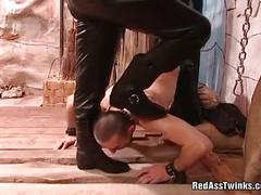 Gay get tied and spanked hard.