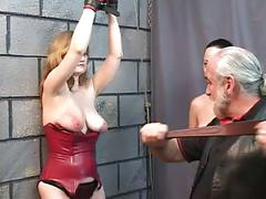 Two bdsm lesbian sluts eat pussy and spank for old man master