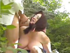 public, mature, funny, pornhub.com, grandma, huge-tits, big-tits, shaved, blowjob, cumshot, facial, outside, forest, old, red-head