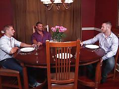 foursome, muscled, gay blowjob, gay anal, gay, gay kissing, gay anal fingering, gay group sex, on the table, jizz orgy, men, johnny rapid, landon conrad, paul wagner, logan vaughn
