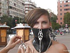 small tits, bdsm, humiliation, tied up, public disgrace, brunette milf, weight, metal clamps, public disgrace, kink, camil core, steve holmes, sandra romain