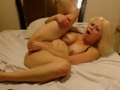 Sexy porn star cums with her dildo then licks her cum off