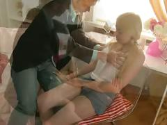 Pigtail blond gets her ass reamed