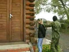 Russian soldiers abuse pretty girl
