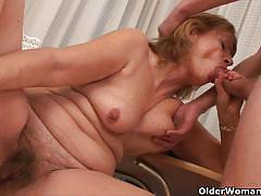Mature blonde gets banged hard by a young stud