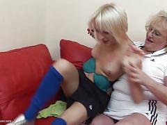 Blonde mommy brutalizes her younger slut