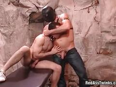 Cock sucking slave gets hard ass spanked.