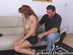 Cuckold wife has hubby jerking off