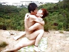 Asian gays trying outdoor sex for the first time