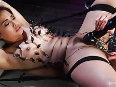 lesbians, babe, domination, fingering, tied up, anal insertion, pussy torture, clamps, electro bdsm, electric vibrator, electro sluts, kink, milcah halili, lilith luxe