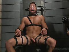 gays, bdsm, torture, tied up, handjob, bondage, nipple pinching, hanging, leather belts, 30 minutes of torment, kink men, jordan boss