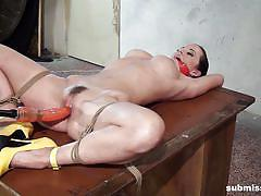 milf, orgasm, bdsm, domination, hairy pussy, ball gag, rope bondage, electric vibrator, machine fuck, struggling babes, submissed, cindy dollar