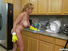 Busty housemaid offering extra services to house owner