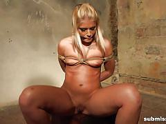 blonde, bdsm, babe, slave, domination, vibrator, tied up, mouth gag, rope bondage, machine dom, submissed, sandy xxxxxxx