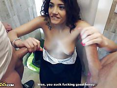 She sucked two dicks for money