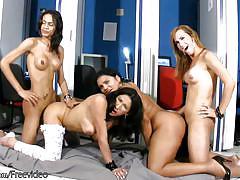 Sexy dark hair cock girls fuck massive asses in sex orgy