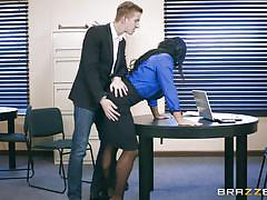milf, big ass, big tits, glasses, brunette, big dick, from behind, boobs sucking, ass spanking, at work, big tits at work, brazzers, danny d, simone garza