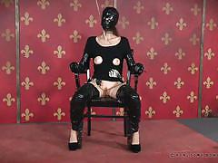milf, bondage, bdsm, vibrator, submission, ropes, latex mask, real time bondage, paintoy emma