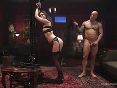 bdsm, babe, brunette, tattooed, submission, tied hands, ball gag, ass whipping, standing sex, sex and submission, kink, derrick pierce, juliette march