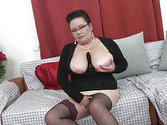 tattoo, mature, stockings, huge tits, brunette, fingering pussy, sucking tits, bbw, mature nl, moira v.
