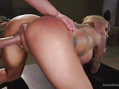 milf, blonde, bdsm, big tits, tattooed, from behind, ball gag, rope bondage, twig, sex and submission, kink, sarah jessie, seth gamble