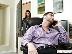 handjob, babe, blowjob, busty, brunette, office sex, neck rub, naughty office, naughty america, seth gamble, lily adams