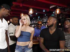 Interracial anal gangbang with bbc slut kate england