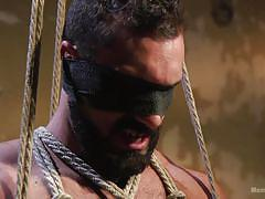 gay threesome, bdsm, torture, handjob, nipple clamps, rope bondage, blindfolded, blowjob, latex mask, men on edge, kink men, jaxton wheeler