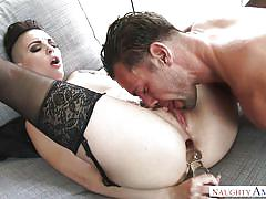 babe, stockings, blowjob, eating pussy, anal dildo, brunette, tattooed, big dick, my friends hot girl, naughty america, johnny castle, rachael madori