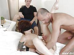 threesome, babe, tricked, redhead, blowjob, pussy licking, blindfolded, tattooed, hands tied, trick your gf, dirty flix, yan