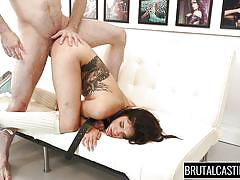 babe, casting, brutal, deepthroat, tattooed, big dick, from behind, riding cock, ass slapping, tied hands, brutal castings, fetish network, eden sinclair