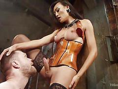 Hot shemale goddess venus lux tears up her loser slave's asshole