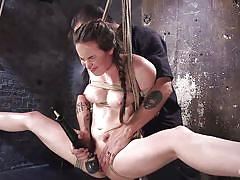 orgasm, bdsm, big tits, babe, riding dildo, suspended, rope bondage, electric vibrator, hogtied, kink, casey calvert, the pope