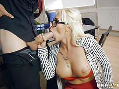 blonde, big tits, babe, blowjob, eating pussy, big dick, undressing, at work, big tits at work, brazzers, danny d, christina shine